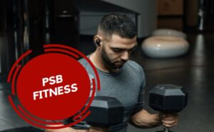 man hold weights, PSB Fitness Logo, Swimming, Pool, Affordable Gym in Mississauga with Swimming